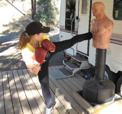 Darlene kickboxing for fitness at the lake